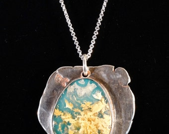 Sterling silver pendant necklace with mossy agate cabochon