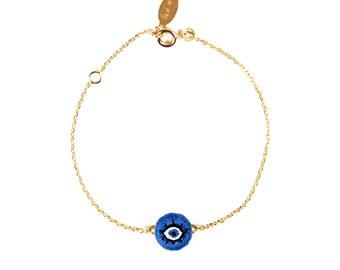 Bracelet brodé Oeil Bleu