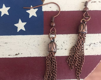 Antique copper tone dangle earrings