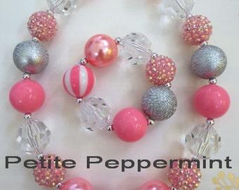 Pink Silver Girl Necklace, Children Necklace, Girl Chunky Necklace,girl necklace set,girl necklace bracelet set,toddler necklace set