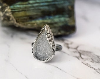 Sterling silver ring druzy teardrop ring white druzy ring large statement ring silver agate ring size 8 ring