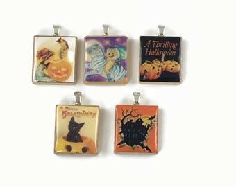 Set of 5 Halloween Scrabble Tile Pendants Set #26