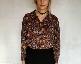 Vintage Benetton Floral Button-Up Blouse