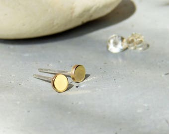 Gold lock gilded brass, small studs earrings