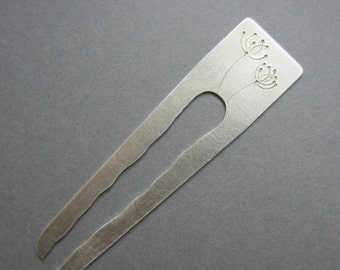 Dandelion Hair Fork silvertone metal 4 inch aluminum modern artisan handmade