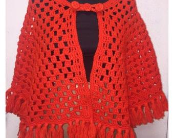Vintage 1970's Orange Knit Poncho