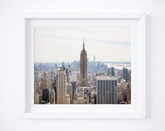 Empire State Building - Manhattan photo print - New York City photography - Urban skyline art - NYC photos - Neutral pastel black and white