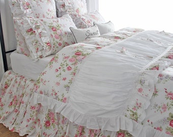 Shabby Red Roses Floral Duvet Cover Queen White Ruffle Duvet Cover King Cotton Bedding Sets