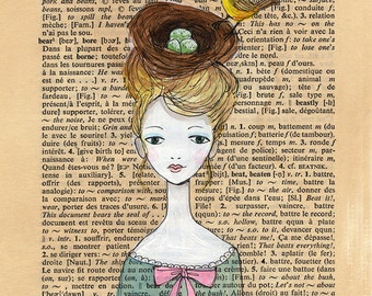 Wild Head Piece - Dictionary Book Page illustration, Bird, Nest and Eggs Headdress, Pen and paint, print 5x7