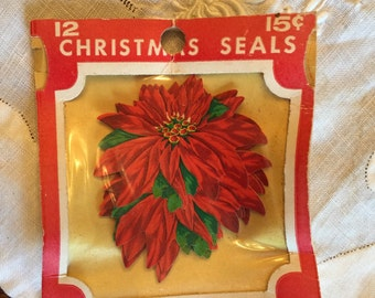 Vintage Dennison Christmas Seals 12 Poinsettia; Scrapbooking, Collages and Paper crafting