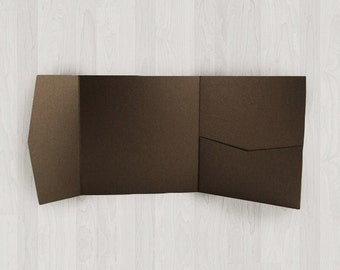 10 Square Pocket Enclosures - Brown - DIY Invitations - Invitation Enclosures for Weddings and Other Events