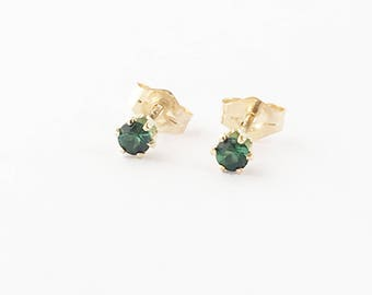Gold Filled Green Tourmaline Stud Earrings