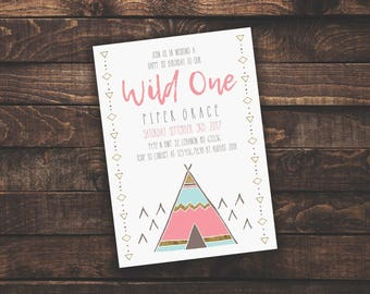 ACROBAT READER Wild One Girl 1st Birthday | Invitation Template, Boy/Kid Birthday Invite, Printable Invite, Instant Download, Easy to Edit