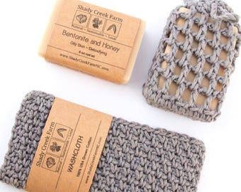 Man Gift for Him, Man Gift, Gift for Dad Gift Bath Set, Bath Gift Set, Washcloth, All Natural Soap, Gift for Husband, Boyfriend Gift, Gray