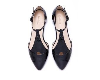 Women black sandals, leather sandals, black shoes, glossy sandals, womens black shoes, evening sandals, flat sandals, Eiffel model.