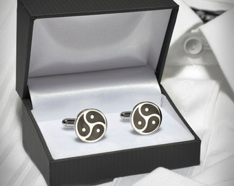 Cufflinks Triskel Symbol Stainless Steel BDSM  in high quality Case for Men Men's Accessory