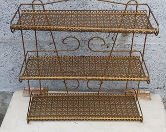 RESERVED For Samantha, Vintage Metal Bathroom Shelf, Lightweight Gold Metal Three Tier Shelves, Small Shelf, Shelf With Leaf