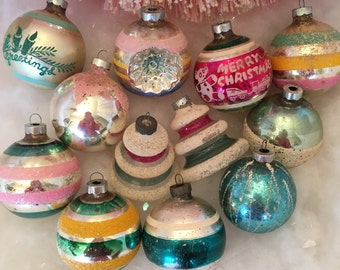 True Vintage Mercury Glass Christmas Ornaments- Mid Century Large All American Made- Shabby Pastels Stripes Shapes Stencils