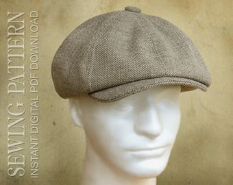 SEWING PATTERN - Taylor, 1920's Gatsby Newsboy Driving Cap for Child or Adult with optional ear warmer flap