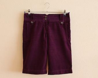 Corduroy Shorts Purple Shorts Purple Corduroy Shorts Women Corduroy  Women Shorts Small Size