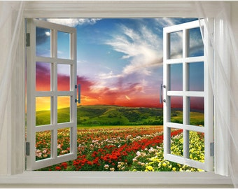 Window Onto Field Of Flowers Scenic Poster Vibrant Colors 24x36 Red Sky