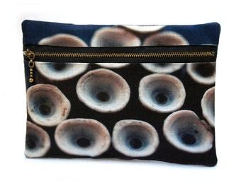 Clutch purse, zipper bag, for her, pouch, original print, BLUE CIRCLES