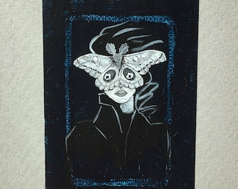 Moth Woman Playing Card Painting