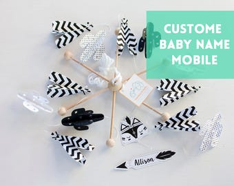 black white Nursery decor, Black white baby mobile, Teepee mobile cactus, Monochrome Baby mobile, montessori mobile, modern baby mobile