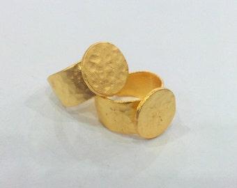 3 Gold Plated Ring Blank Base Bezel Setting  Adjustable Ring Blank  (15mm Blank)  , Gold Plated Brass  G12934