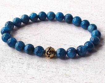 Mens Aquamarine Bracelet Mens Beaded Bracelet, Throat Chakra Healing Crystal Bracelet, Aquamarine Jewelry, Cool Mens Bracelet
