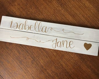 Hand Lettered Name Sign