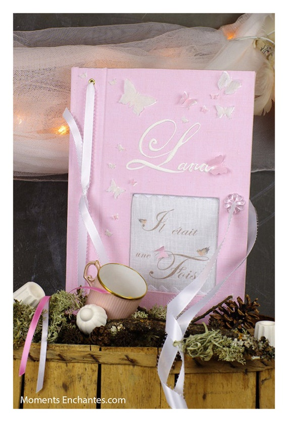 "Guest book ""butterfly"" pink  Personalized"