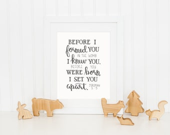 Jeremiah 1:5 Scripture Nursery Print, 11 x 14 Hand Lettered Art Print, Digital Download