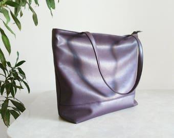 Leather tote Large tote bag purple Handbag plum Designer handbags Work bag Laptop bag ultraviolet