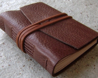 """Small Leather Journal, 3.5""""x 4.5"""", rustic brown, pocket journal, pocket sketchbook, pocket diary (2959)"""