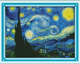 Starry Night Van Gogh,Cross Stitch Pattern,Cross Stitch Modern,Starry Night Picture Decoration,Embroidery Kit Set,Van Gogh Wall Decoration