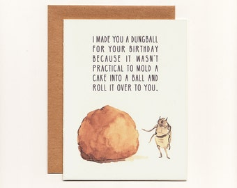 Funny Greeting Card, Birthday, Dung Beetle