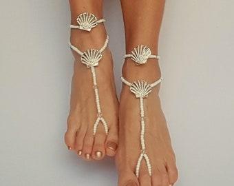 Rhinestone barefoot sandals, Wedding Barefoot Sandals,  Rhinestone jewelry, Seashells jewelry, White barefoot sandals, Beach wedding shoes