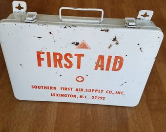 Vintage first aid box old metal box Industrial Wall decor old factory first aid kit Lexington NC
