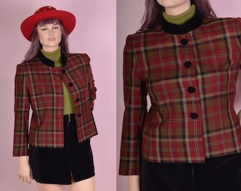 90s Wool Plaid Jacket/ US 10P/ 1990s
