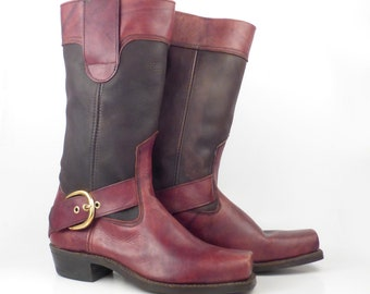 Brown harness Boots Vintage 1970s Burgundy Leather Motorcycle Campus Boots Men's size 10