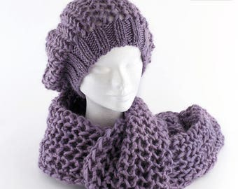 ALL COLORS AVAILABLE! Handmade knitted hat, wool beret, winter hat, slouchy hat, winter beret, knitted beret, wool scarf.