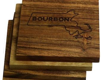 Boston, Massachusetts Bourbon Coasters - Set of 4 Engraved Acacia Wood Coasters