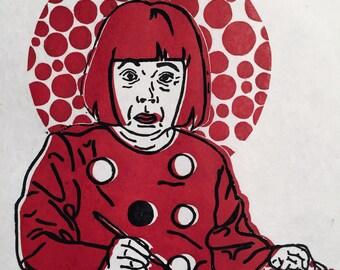 Yayoi Kusama Linocut Print