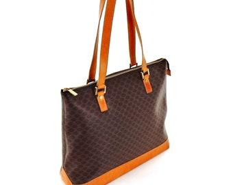 Authentic Vintage Céline Macadam Canvas Leather Oversized Shopper XL Shoulder Bag