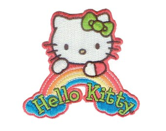Hello Kitty Iron On Applique, Hello Kitty Iron On Patch, Hello Kitty Applique, Rainbow Patch, Cute Patch, Kids Patch, Embroidered Patch