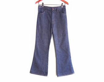 vintage denim / high waist denim / vintage bell bottoms / 1960s indigo denim bell bottom flairs 25