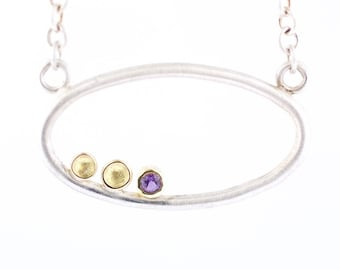 Lichen Oval Window Pendant Purple Sapphire Sterlring Silver 18 Karat Yellow Gold