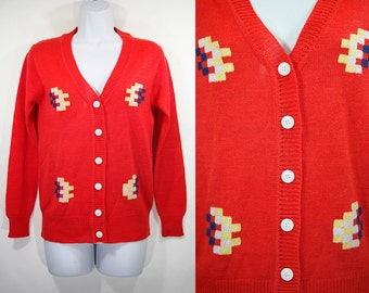 Vintage 70's ALBEE 100% Acrylic Red Navy Yellow White Blocks Pattern Cardigan S