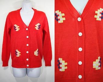 Vintage 70's ALBEE 100% Acrylic Red Navy Yellow White Blocks Pattern Cardigan S
